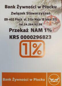 Przekaz 1 % podatku na Bank żywności w Płocku